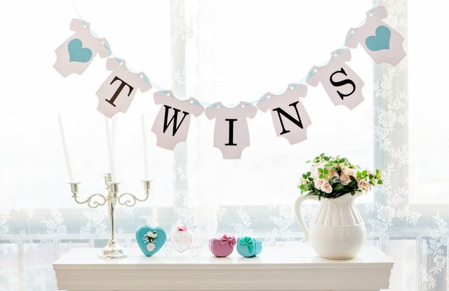 Free Shipping 1 X Twins Banner Baby Shower Garland Sign Photo Props