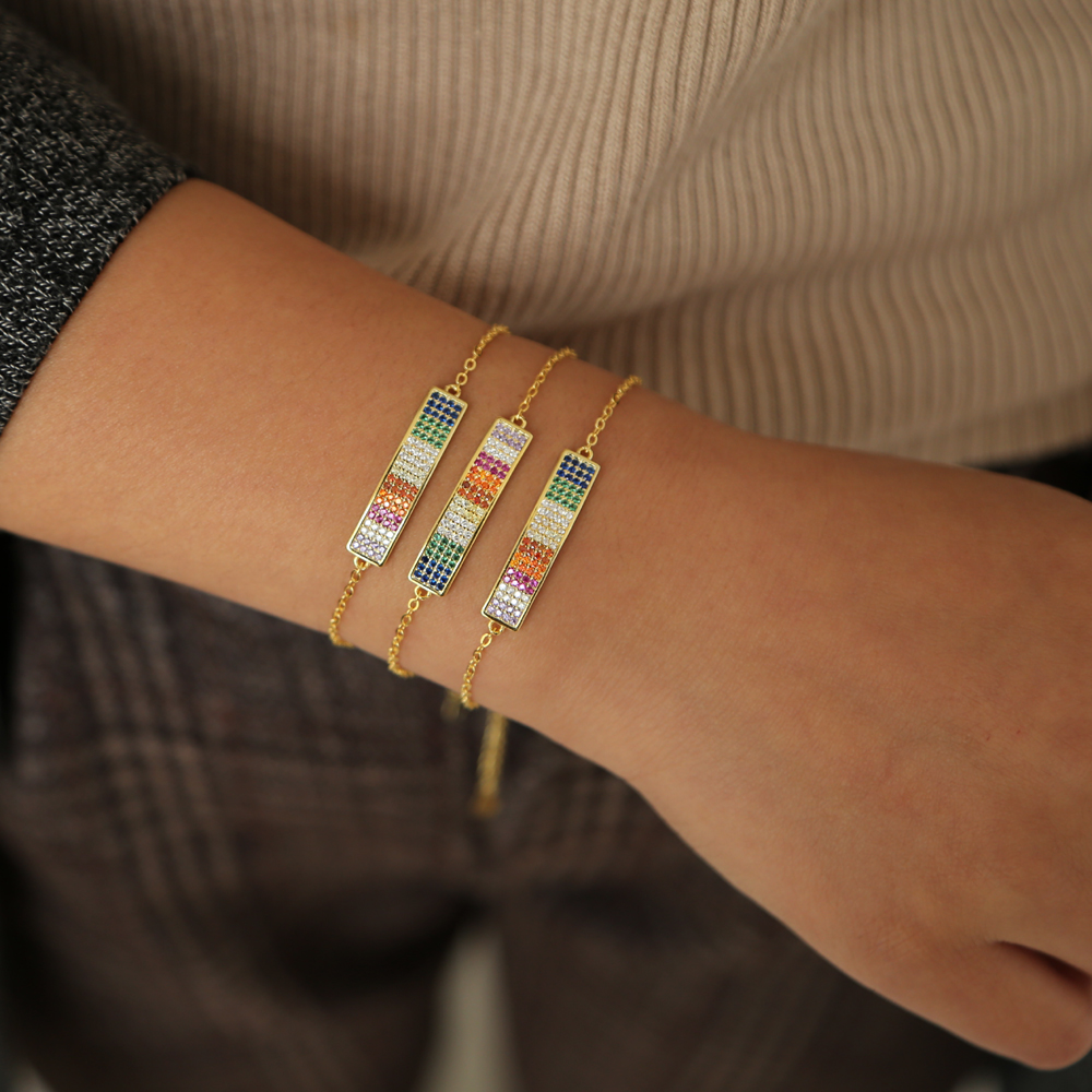 Party Jewelry Adjustable Bracelet For Women Personalized Gold Color rainbow Brilliant CZ Bracelet Jewelry