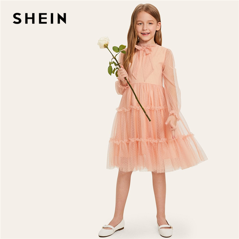 SHEIN Kiddie Pink Bow Ruffle Trim Dot Mesh Tiered Girls Party Dress 2019 Spring Long Sleeve A Line Cute Kids Dresses For Girls spring and autumn girl children cotton dress long sleeve flower print sweaters dresses fashion baby girl cute party dress