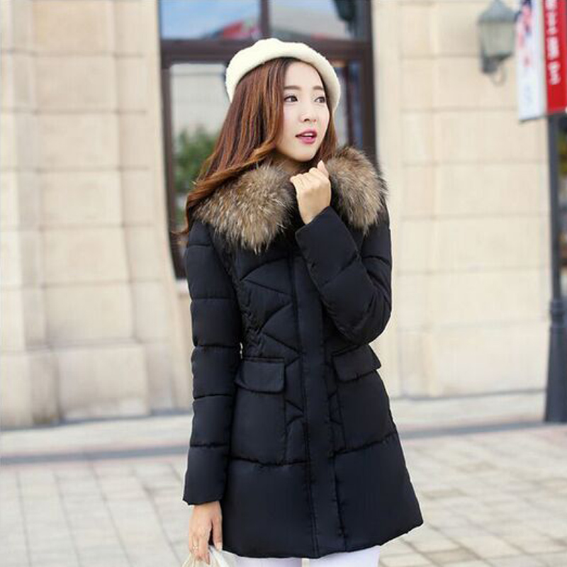 Winter Jacket Women 2017 New Fashion Real Large Raccoon Fur Parka Thickening Long Down jackets Warm For Winter Coat