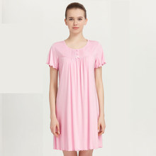 385698932a CILER Sexy Lingerie Women Girl Modal Half Sleeve Sleep Dress Casual Lace  Sweet Nightdress Nightgown Home