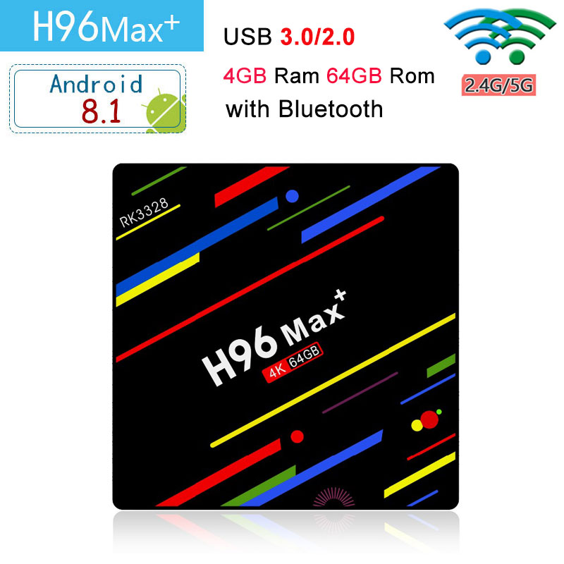 H96 max plus RK3328 Quad core 4G RAM 64G ROM android 8.1 smart tv box support 4K 1080P HD 2.4G/5G WiFi USB3.0 BT4.0 set-top box