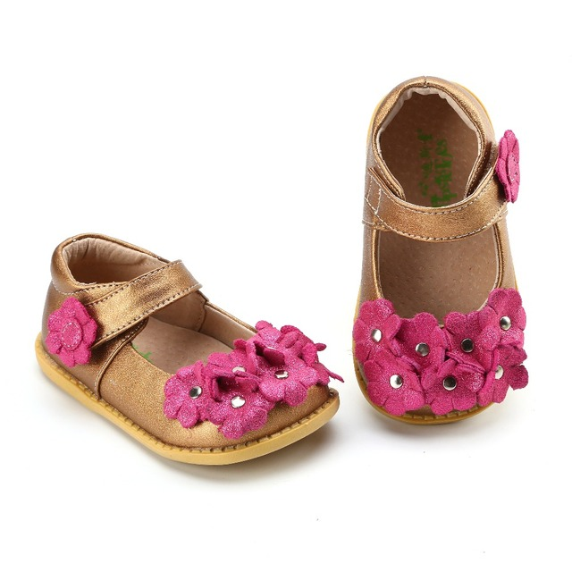 TipsieToes Brand High Quality Genuine Leather Stitching Kids Children Shoes For Boys And Girls 2018 Autumn copper with fuschia