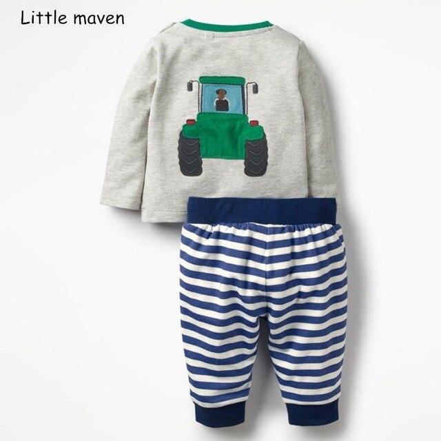 Poco maven per bambini set di abbigliamento 2018 di autunno dei ragazzi del  Cotone di marca manica lunga bulldozer parti superiori t shirt + striped ... 1293802361c