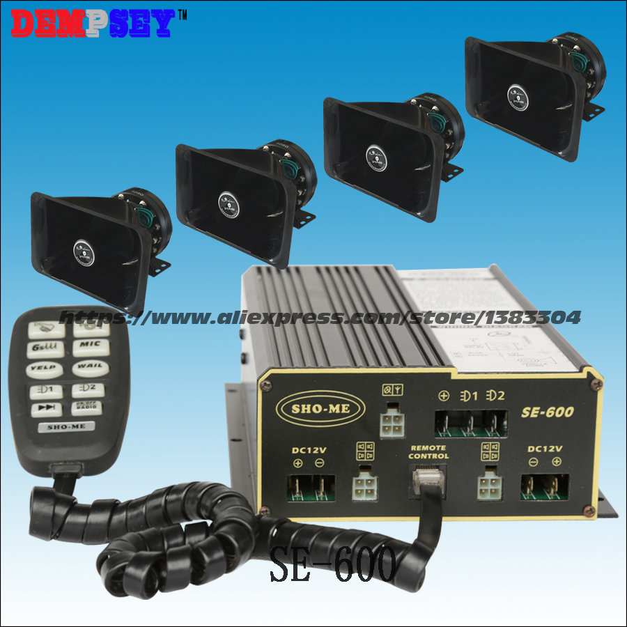 SE-600 Police Alarm, Emergency Ambulance 600w Siren, 10 Tones, With Microphone, 2 Light Switches,with 4pcs Of 150W Speakes
