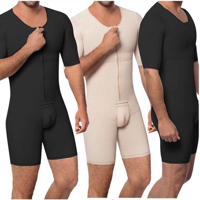 Waist Trainer Men Shapewear Open Crotch Front Zipper Sexy Bodysuit Butt Lifter Male Tummy Short Sleeve Big Size 6XL Dropshipping