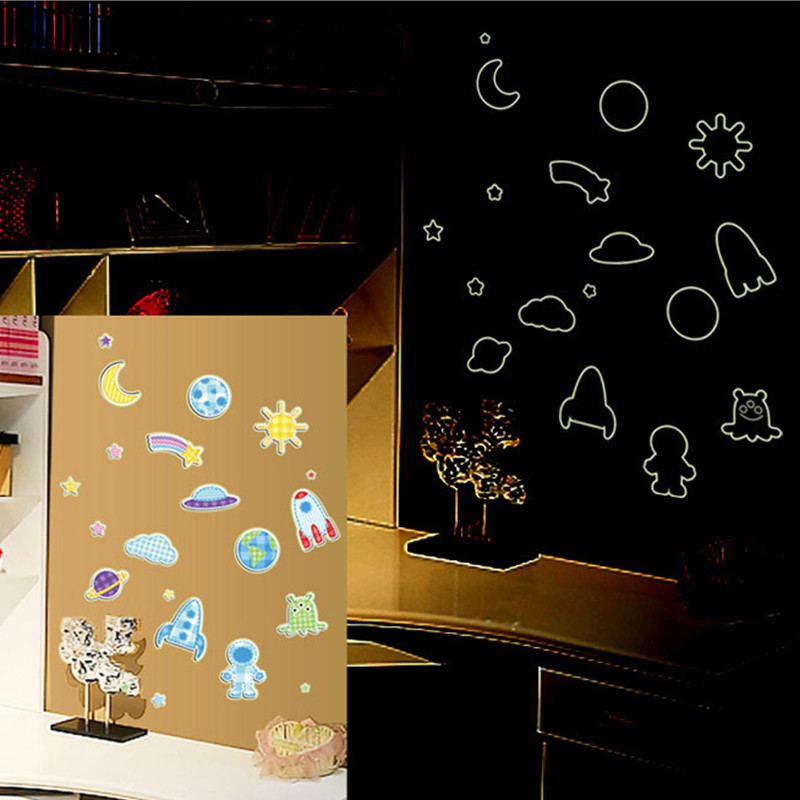 DIY Fashion Luminous Wall Stickers for Kid Letters Star Love Happy Bear SeaWorld Meteor shower 8 kind design for your choice