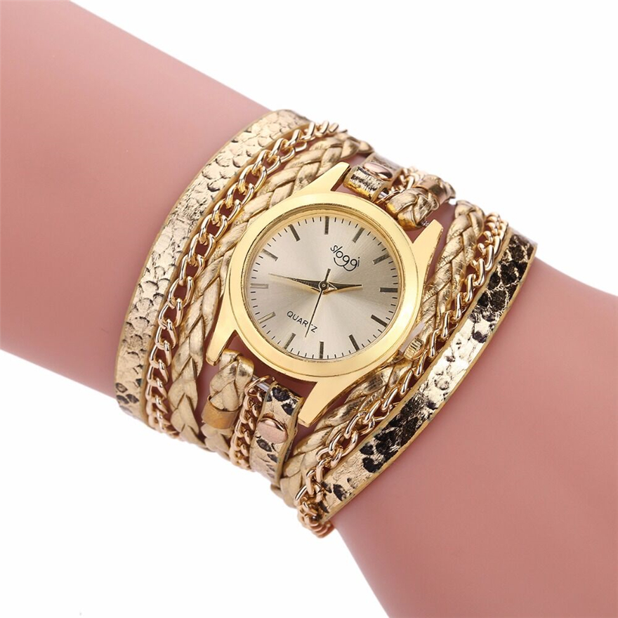Brand Quartz Watches Women Gold Geneva Bracelet Wristwatch Ladies Dress Woven Leopard Multi Layers Leather Strap Watch