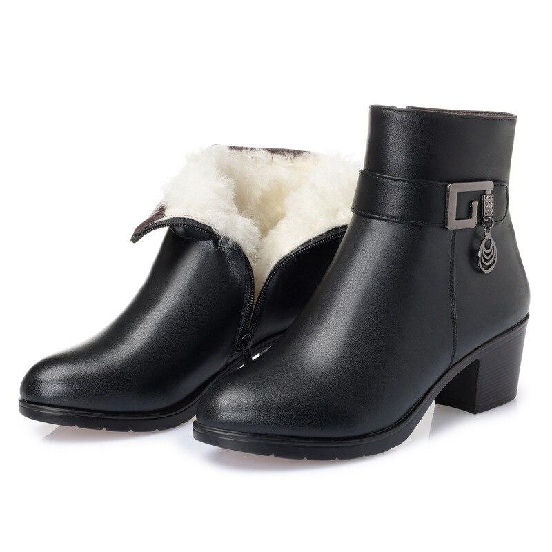 Courtes 35 black Femmes Plus Inside Boots Coton Plush Wool Black La Single Taille D'hiver Bottines Antidérapant Qualité Chaussures 2018 Haute Hiver Bottes Nouvelles 43 black fYZxwR5