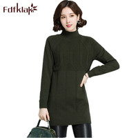 Fdfklak Red/Black Turtleneck Women Brand Sweaters And Pullovers 2018 Winter Long Female Sweater Knitted Pullover Woman Q797