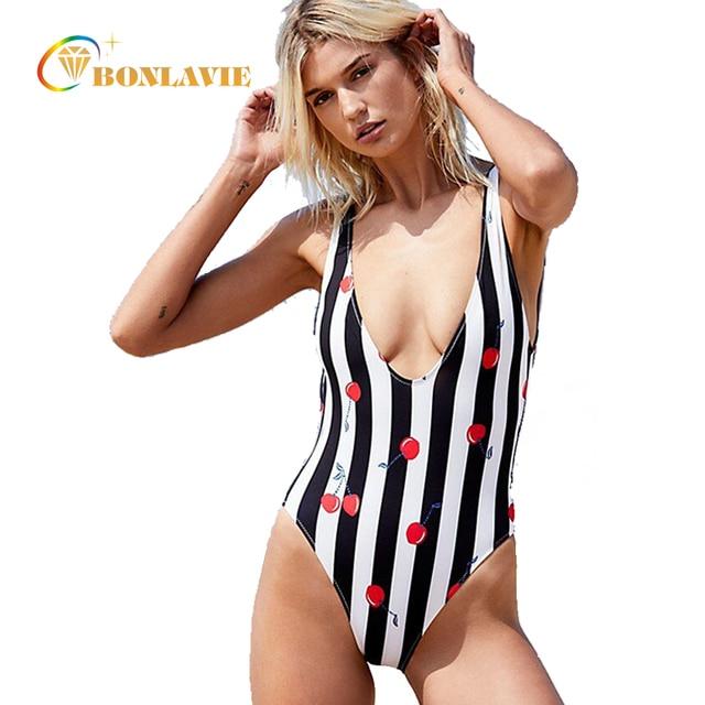 a08ba42b67f8f Monokini Women Swimwear One-piece Swimsuit Sexy Backless Trikini Bodysuit  Cherry Print Stripe Bathing Suit Female Beach Wear