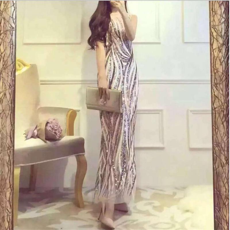 Sexy Vestiti Elegante Slim M1435 Di Modo Partito Donne Femminile Maniche Randello Pink Abito Fit Senza Del Lungo Paillettes Estate 1AxZ6Oq