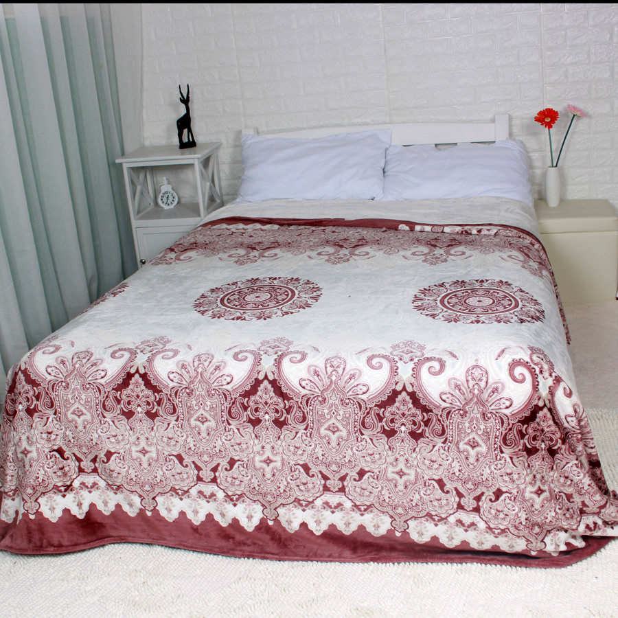 Winter blanket on the bed red flower soft thick king queen for Blankets king size bed
