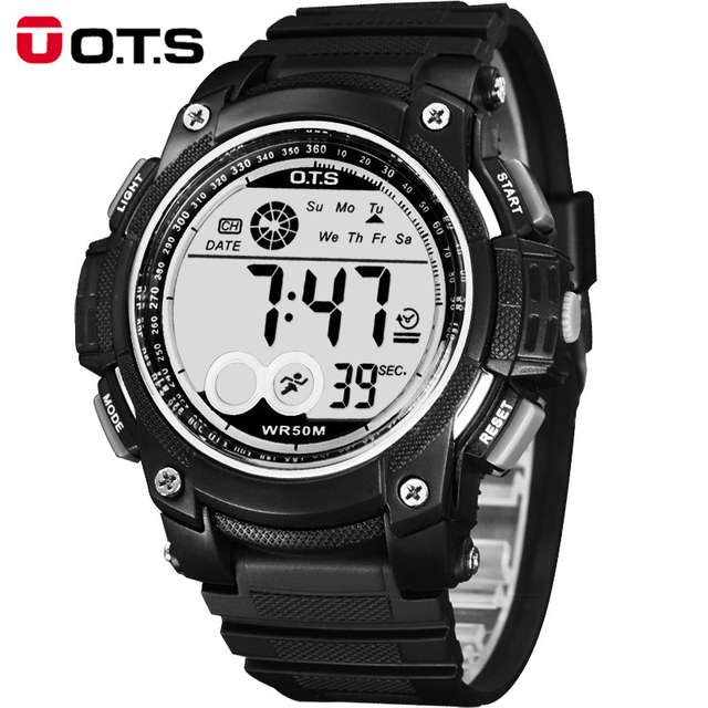 Top Relogio Masculino OTS Brand Men Sport Watches Men Fashion Casual LED Digital Watch Montre Homme Waterproof Men Watches 6992S