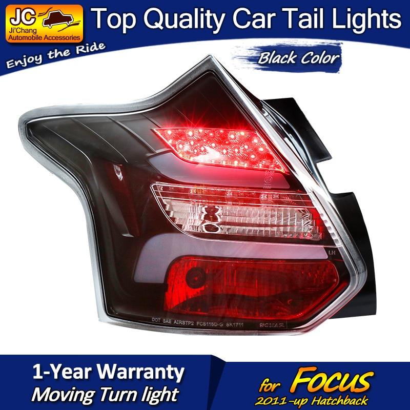 Для Ford Hatchback Focus черный корпус светодиодный задний фонарь в сборе подходит для автомобилей на 2011 год с последовательным индикатором простая ...