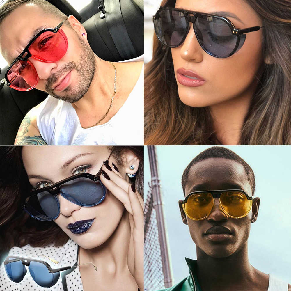 a1405d249e94 VIVIBEE 2019 Trend Steampunk Sunglasses Women Men Gothic Sun Glasses  Aviation Vintage Yellow Goggles Female Elegant Shades