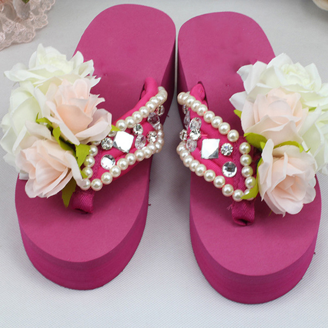 0dc63db76 Sale top summer women Handmade Diamond Gemstone pearl chiffon flower slippers  thick bottom flip flops comfortable beach shoes