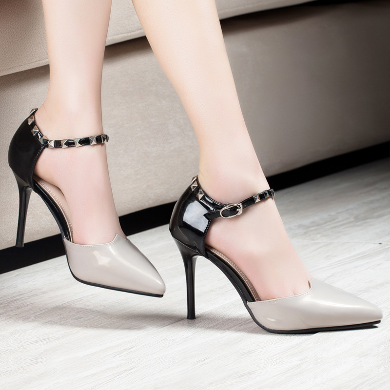 New Design Thin High Heels Pointed Toe Buckle Sexy font b Women b font Pumps Red