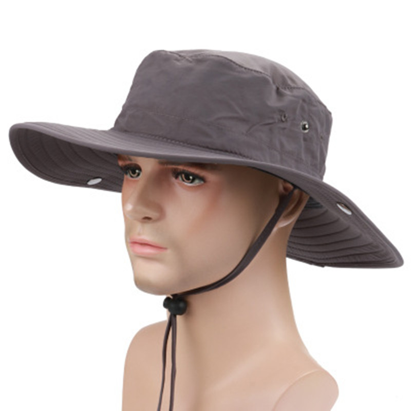 Summer Outdoor Sunscreen Large Brimmed Fishing Cap Quick Drying Round Bucket Hat Cowboy Style Cap ...