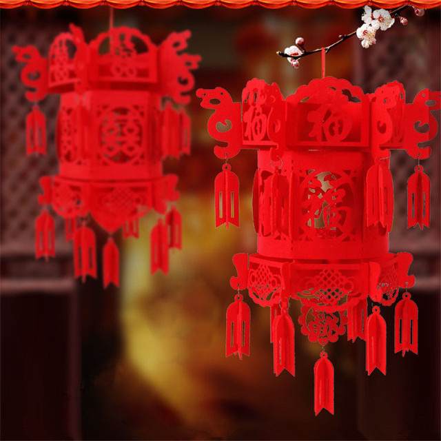 Lanterns Wedding Chinese Lantern Festival Decoration Lampion Flying Non Woven Red Decorative Lamp Lights Diy