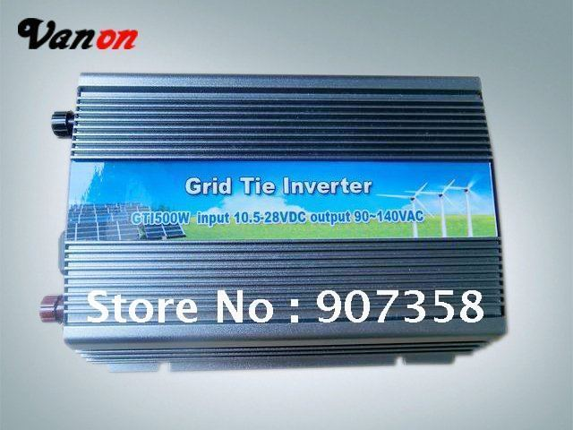 Grid tie/ On-grid DC to AC 500W Solar Power inverter Input 10.5-28VDC Output 90V-140/180~260VAC output free shipping
