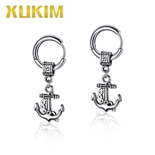 Xukim Jewelry Vintage Silver Color Anchor 316 Stainless Steel Dangle Drop Earrings Accessories Gift for Men Women