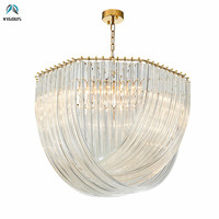 Luxury Post Plate Lustre Gold Led Pendant Lights Glass Led Luminaria Lamparas Led Light Hanging Lamp Suspend Lamp For Living Roo