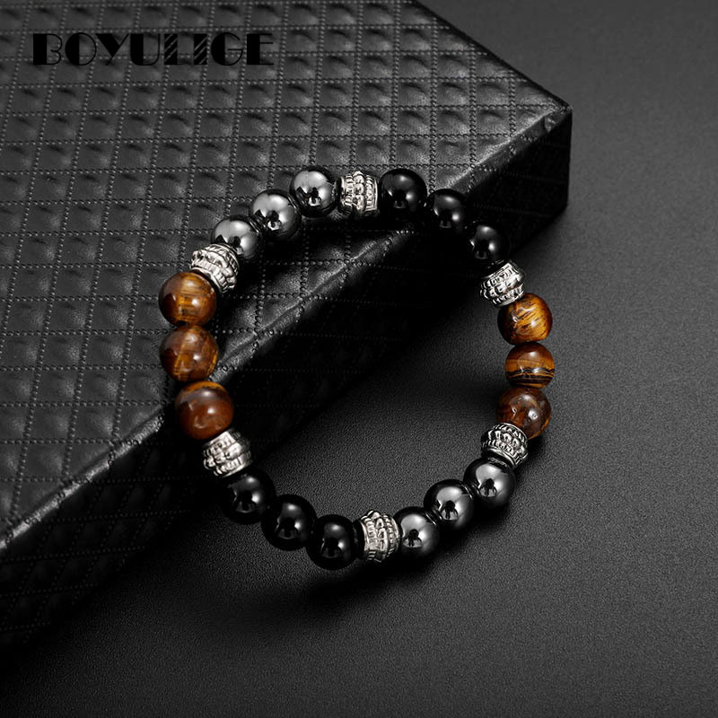 BOYULIGE High Quality Tiger Eye Stone & Hematite Yoga Reiki Prayer Bracelet Men Women Charms For Jewelry Making For Fathers Day