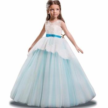 df3d279a7 2018 niñas vestido de verano partido boda Vestido para niñas niños largos  Eveving vestido princesa vestido elegante 5 14 10 12 años