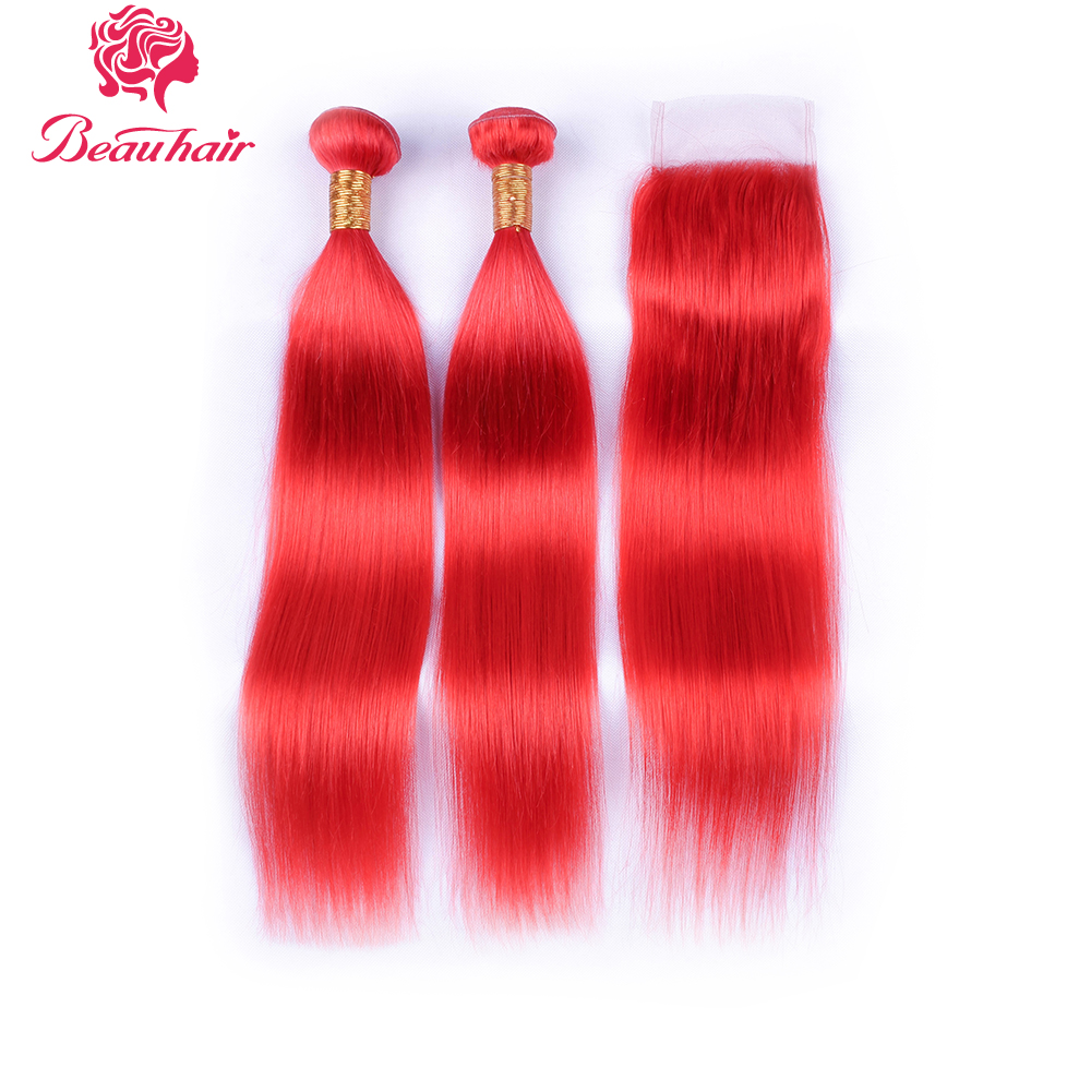 Beauhair Peruvian Straight hair Red Color 2 Bundles with 4*4 closure Remy Human Hair Extensions Free Shipping