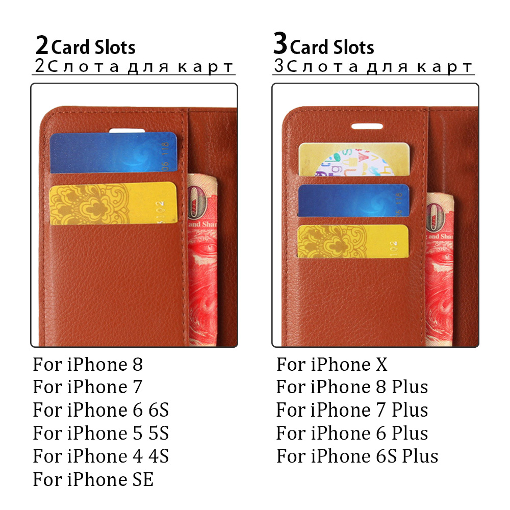 KIP7P1146_7_Litchi Texture Leather Case with Card Slots & Stand for iPhone 7 Plus