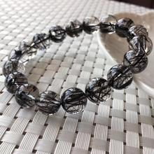 11.8mm Genuine Natural Black Hair Rutilated Quartz Crystal Bracelet Clear Round Beads Wealthy Stone Men From Brazil AAAAA