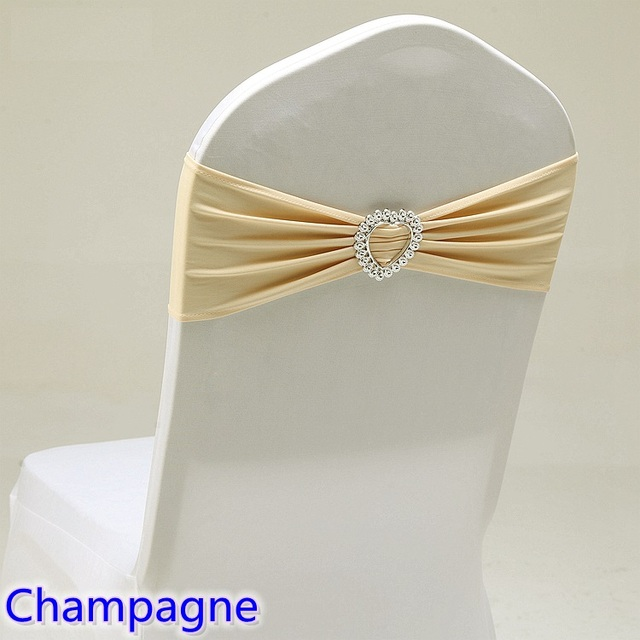 champagne banquet chair covers hanging metal colour spandex sash wedding lycra band stretch for decoration party dinner