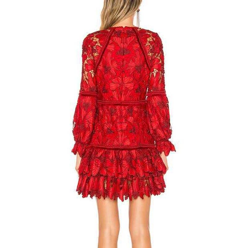 Di alta Qualità Del Progettista della Pista Elegante Ricamo Floreale Donna Rosso Mini Vestito A Vita Alta Scava Fuori Femminile Abito Corto Abiti-in Abiti da Abbigliamento da donna su  Gruppo 3