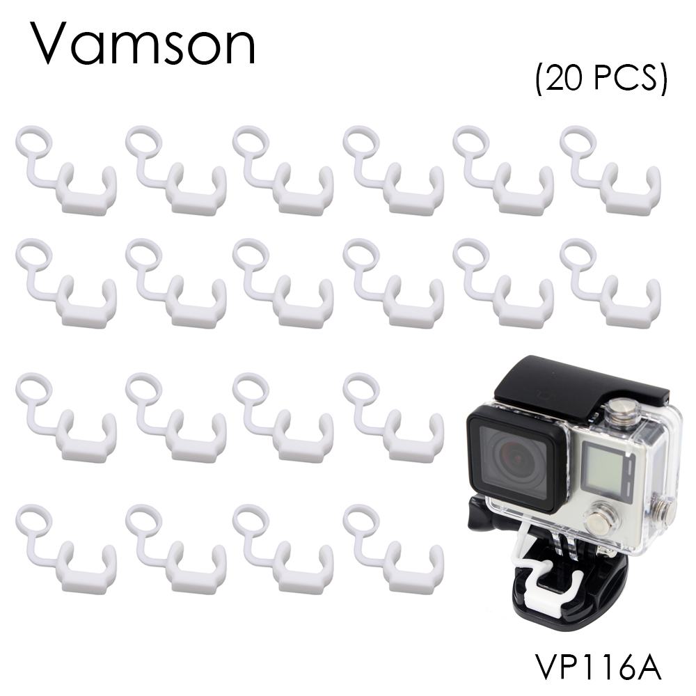 Vamson for GoPro Accessories Safety Buckle Silicone Rubber Locking Plug For Go Pro Hero 5 4 3+ for SJCAM for Yi Camera VP116A