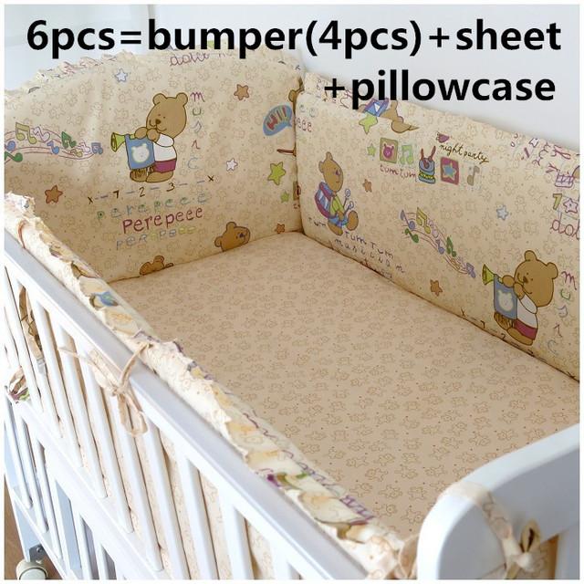2016 6 PCS berço cama set cortina de algodão crib bumper bebê berço define berço pára choques ( bumpers + folha + fronha )