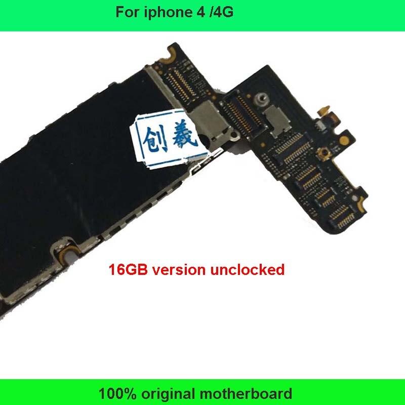 imágenes para 100% buen funcionamiento Original de fábrica 16 GB EE.UU. Una versión placa base para iphone 4 4g motherboard construido en la lógica del sistema ios junta