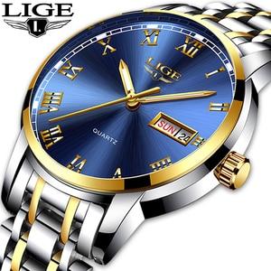 Image 3 - LIGE Watch Men Fashion Sports Quartz Full Steel Gold Business Mens Watches Top Brand Luxury Waterproof Watch Relogio Masculino