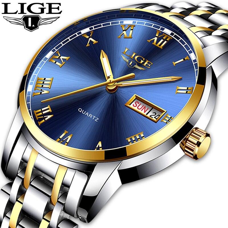 LIGE montre hommes mode sport Quartz plein acier or affaires hommes montres Top marque luxe étanche montre Relogio Masculino