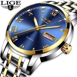 Lige relógio masculino moda esportes de quartzo aço completo ouro negócios relógios dos homens marca superior luxo à prova dlogiágua relógio relogio masculino