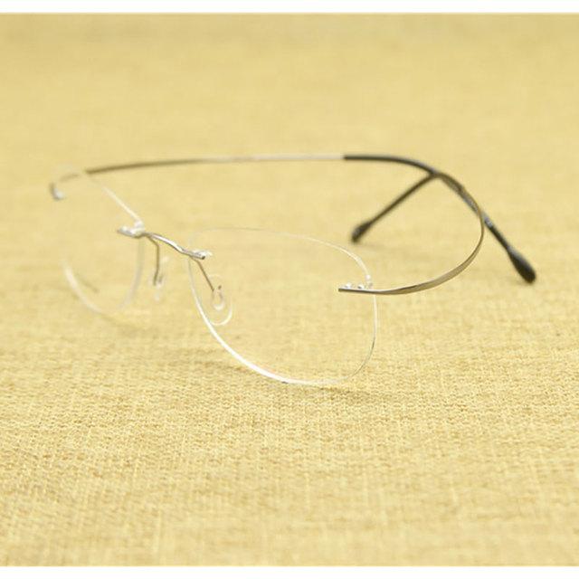 Moda óculos sem aro prescrição de óculos vidros ópticos quadro titanium da liga de memória de alta qualidade para homens e mulheres