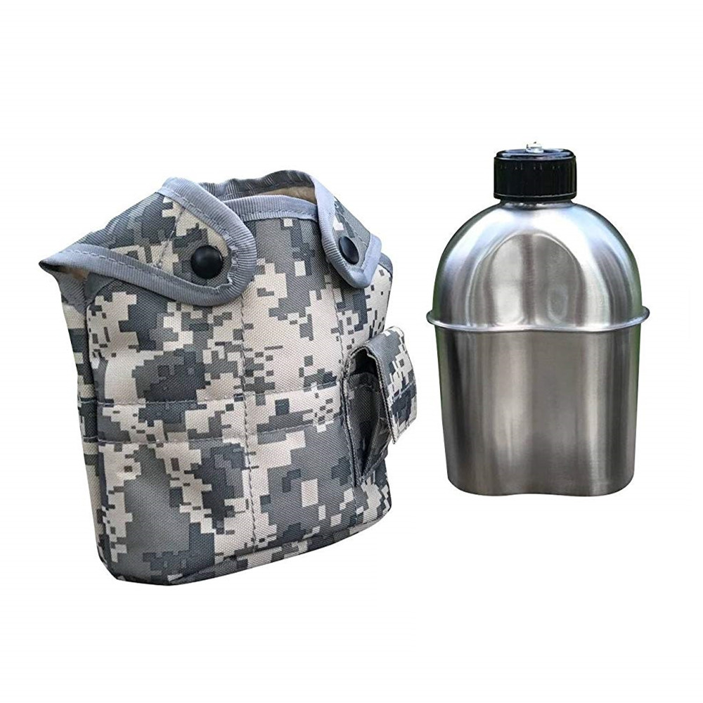 Jolmo Lander Stainless Steel Canteen,Military Canteen,Army Water Bottle,Camping Kettle 1.2L