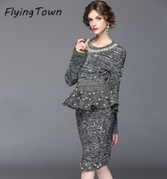FlyingTown Runway Set Women Knitted Sweater And Skirt 2pcs Suits Pearl Beading Elegant Grey Knitted Sets