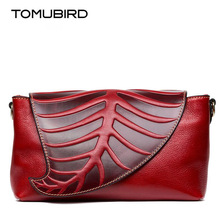 TOMUBIRD new quality cowhide material Leaf Designer Handbags Embossed Leather Clutch Bag Cross Body Purses