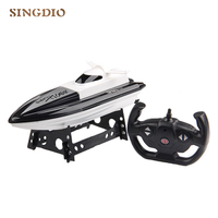 New type Remote control boat toy Outdoor toys Speedboat Water toys with steering wheel handle model toy For children Kids Gift