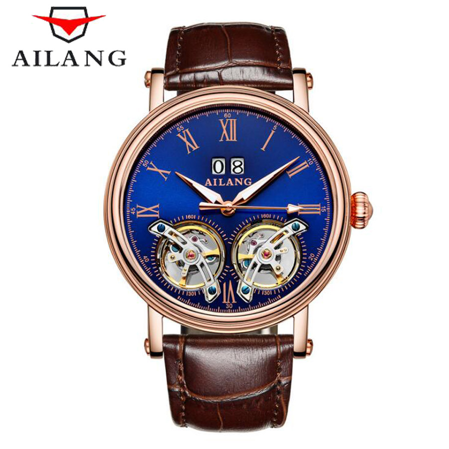 AILANG Mens Watches Top Brand Luxury Sports Double Tourbillon Automatic Mechanical Brand Watch Men Genuine Leather Strap Watches luxury brand ailang automatic mechanical watches mens waterproof double tourbillon watch genuine leather straps men wrist watch