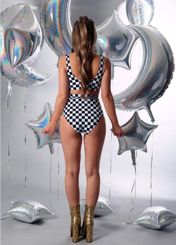 High Waist Swimsuit new Hot Summer Sexy Women Black And White Plaid Beachwear Padded Bikini Swimwear Women Biquini in Bikinis Set from Sports Entertainment
