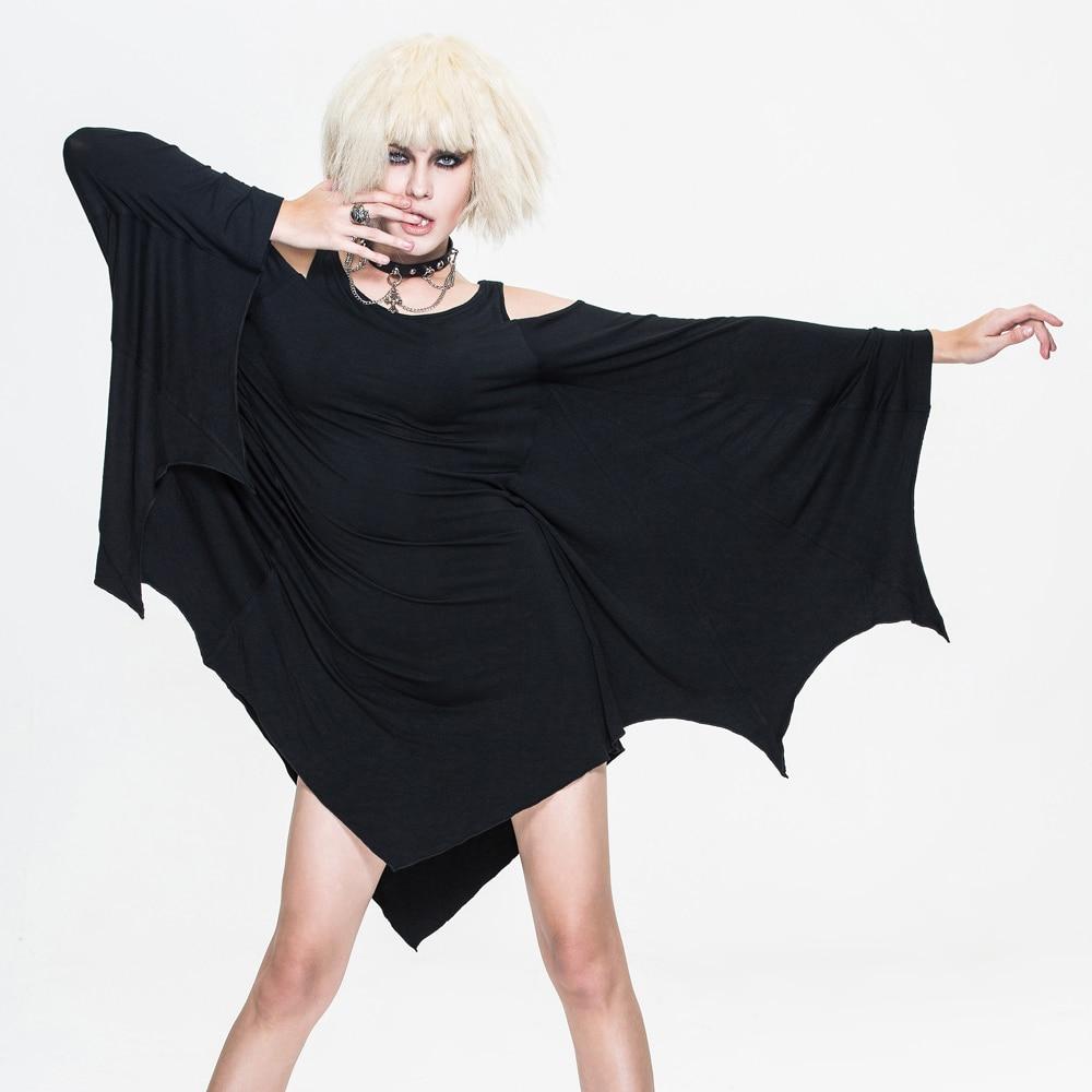 2017 printemps été diable mode Steampunk femmes robe à manches chauve-souris Goth noir o-cou Stretch robe courte