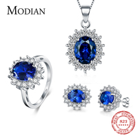 7 Color Classic Real 925 Sterling silver Jewelry Sets Fashion Earrings Clear Oval Crystal Pendant Necklace For Women Chain