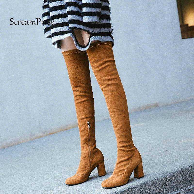 Woman Thick High Heel Side Zipper Suede Over The Knee Boots Fashion Square Toe Winter Stretch Boots Ladies Thigh Boots Black